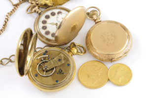 1904 and 1932 US gold coins and antique man's pocket watches (sirca 1890-1910)